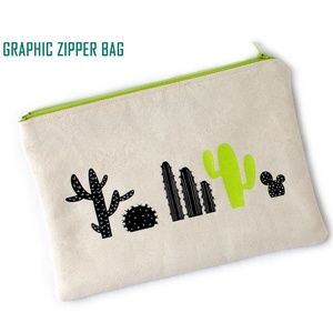 Graphic Zipper Bag Cactus Makeup Tech Cords